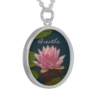 """BREATHE -PINK LOTUS BLOSSOM"" (PHOTOG.) STERLING SILVER NECKLACE"