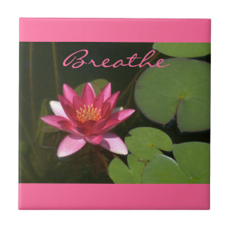"""Breathe"" Pink Lotus Blossom Tle Ceramic Tile"