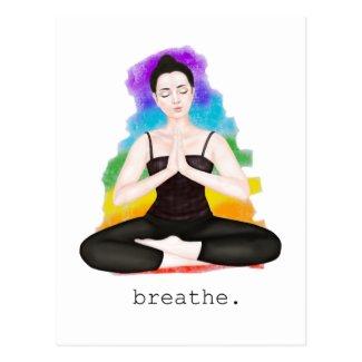 breathe. rainbow postcard
