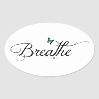 Breathe with blue butterfly oval sticker