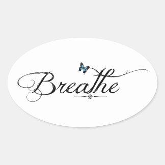 Breathe with blue butterfly oval sticker