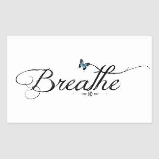Breathe with blue butterfly rectangular sticker