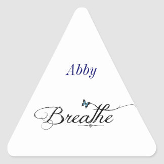 Breathe with blue butterfly triangle sticker