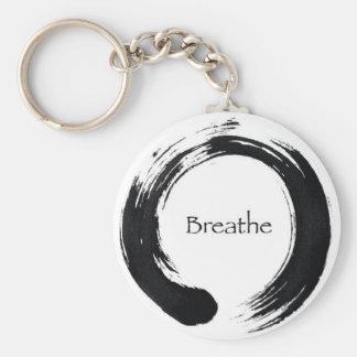 Breathe with Enso symbol Basic Round Button Keychain
