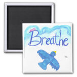 Breathe with Flying Blue Bird magnet