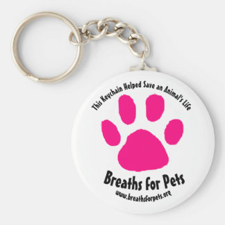Breaths for Pets Pink Paw Print Keychain