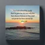 "BREATHTAKING JOHN 3:16 SUNRISE PLAQUE<br><div class=""desc"">Express your faith, hope, miracles, God&#39;s love and blessings with this beautiful sunrise photo with the inspiring scripture verse John 3:16. For God so loved the world. This lovely John 3:16 design will make a cherished gift when blessing that someone special that loves Jesus and reading the bible. This inspiring...</div>"