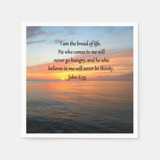 BREATHTAKING JOHN 6:35 SUNRISE DESIGN NAPKIN