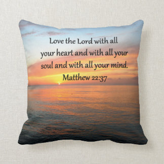 BREATHTAKING MATTHEW 22:37 SUNRISE OVER THE OCEAN THROW PILLOW