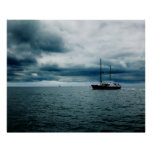 Breathtaking Ship Sailing on Stormy Seas Dramatic Print