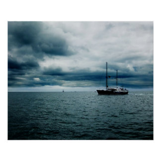 Breathtaking Ship Sailing on Stormy Seas Dramatic Print