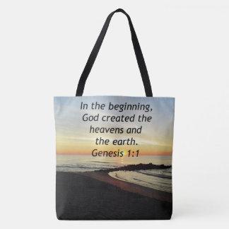 BREATHTAKING SUNRISE ON THE OCEAN GENESIS 1:1 TOTE BAG