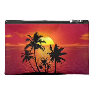 Breathtaking sunset behind beautiful palm trees travel accessory bag