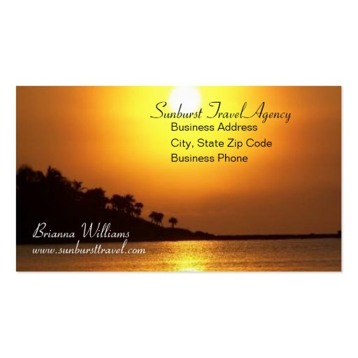 Breathtaking Sunset Travel Agency Business Card