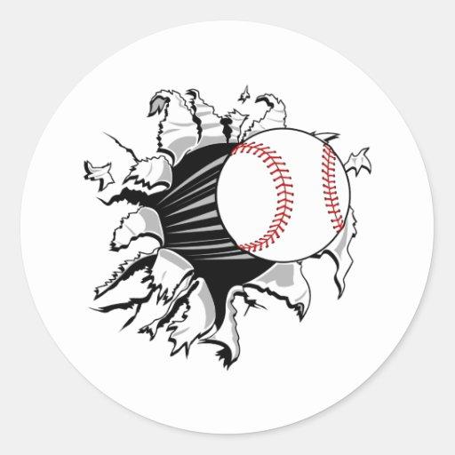 Brecha del béisbol pegatina redonda