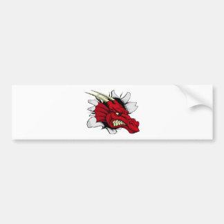 Brecha roja del dragón pegatina para auto