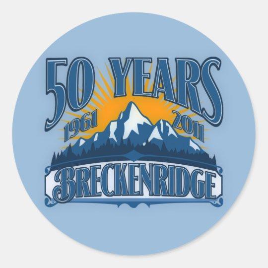 Breckenridge 50th Anniversary Logo (Blue) Classic Round Sticker
