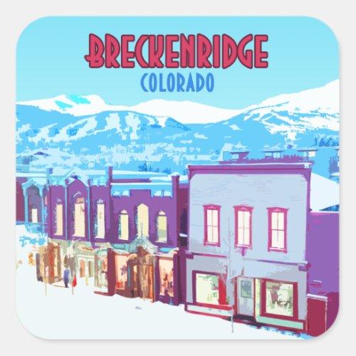 Breckenridge Colorado Downtown Mountains Square Sticker