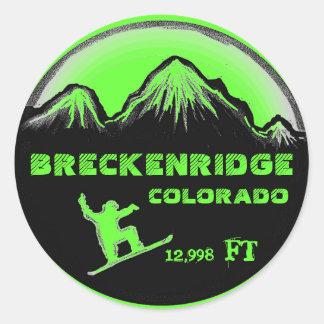 Breckenridge Colorado green snowboard art stickers