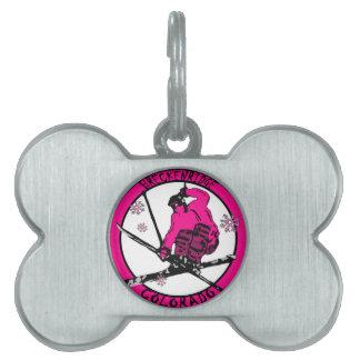 Breckenridge Colorado pink skier circle Pet ID Tag