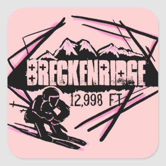 Breckenridge Colorado ski elevation pink stickers