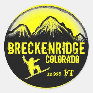 Breckenridge Colorado yellow snowboard art sticker