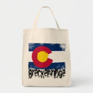 Breckenridge Grunge Flag Grocery Tote Bag