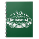 Breckenridge Mountain Emblem Green Spiral Note Book