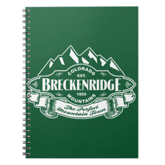 Breckenridge Mountain Emblem Green Spiral Notebook