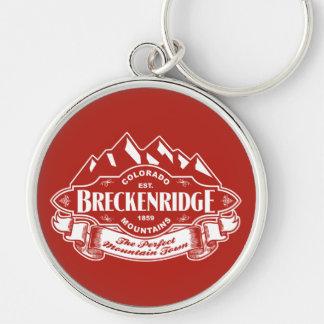 Breckenridge Mountain Emblem Red Silver-Colored Round Keychain