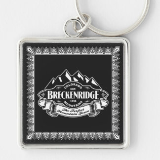 Breckenridge Mountain Emblem Silver-Colored Square Keychain