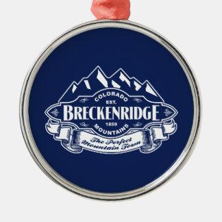 Breckenridge Mountain Emblem Silver Round Metal Christmas Ornament