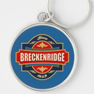 Breckenridge Old Label Silver-Colored Round Keychain