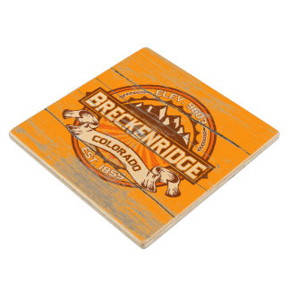 Breckenridge Old Paint Tangerine Wood Coaster