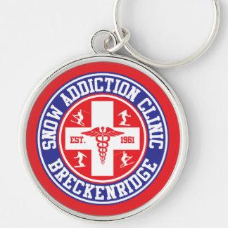 Breckenridge Snow Addiction Clinic Silver-Colored Round Keychain