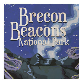 Brecon Beacons Vintage Railway Travel Panel Wall Art