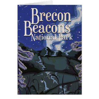 Brecon Beacons Vintage Railway Travel Poster Card
