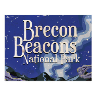 Brecon Beacons Vintage Railway Travel Poster Postcard