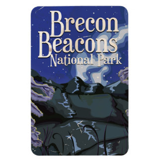 Brecon Beacons Vintage Railway Travel Poster Rectangular Photo Magnet