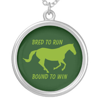 Bred to Run, Bound to Win (Running Horse) Silver Plated Necklace