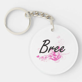 Bree Artistic Name Design with Flowers Single-Sided Round Acrylic Keychain