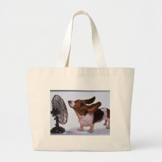 Breeze -Dog and Fan Large Tote Bag