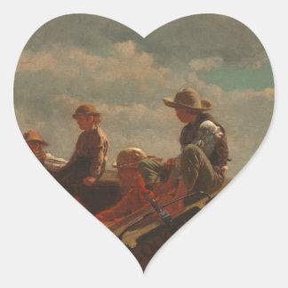 Breezing Up (A Fair Wind) by Winslow Homer Heart Sticker