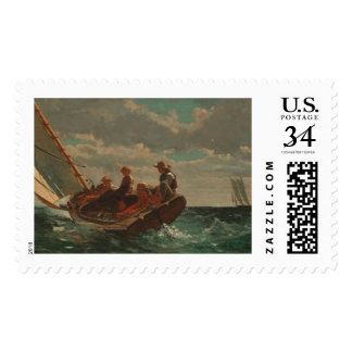 Breezing Up (A Fair Wind) by Winslow Homer Postage Stamp