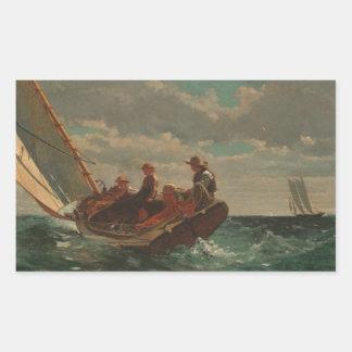 Breezing Up (A Fair Wind) by Winslow Homer Rectangular Sticker