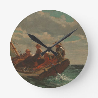 Breezing Up (A Fair Wind) by Winslow Homer Round Clock