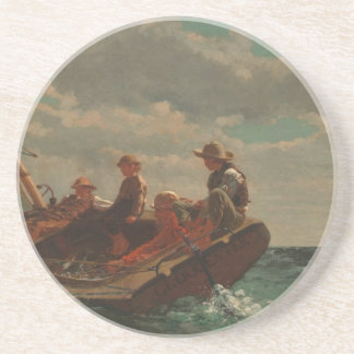 Breezing Up (A Fair Wind) by Winslow Homer Sandstone Coaster