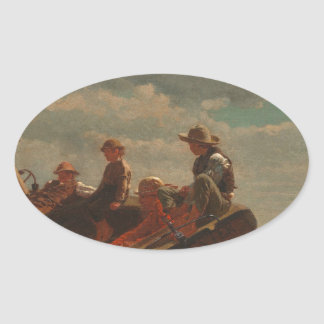 Breezing Up Winslow Homer Oval Sticker