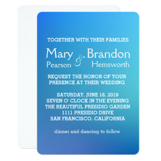 Breezy Beautiful Blue Watercolor Wedding Card