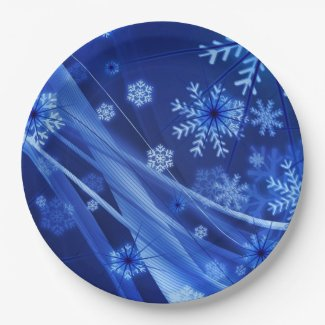 Breezy Blue Christmas Snowflakes 9 Inch Paper Plate